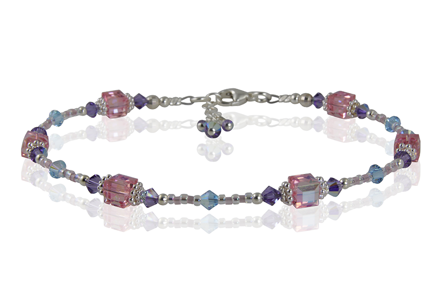 Tanzanite Rose Cube Crystal Anklet - SWCreations