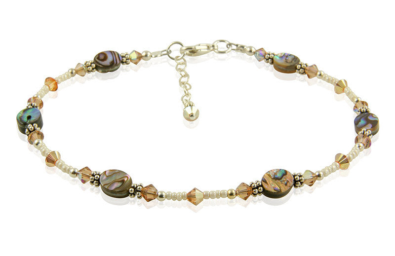 Sunshine Topaz Abalone Shell Anklet - SWCreations