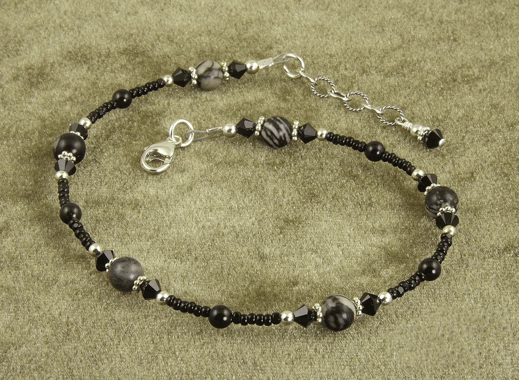 Black Silk Stone Gemstone Anklet
