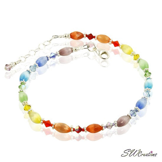 Rainbow Cats Eye Crystal Anklet - SWCreations