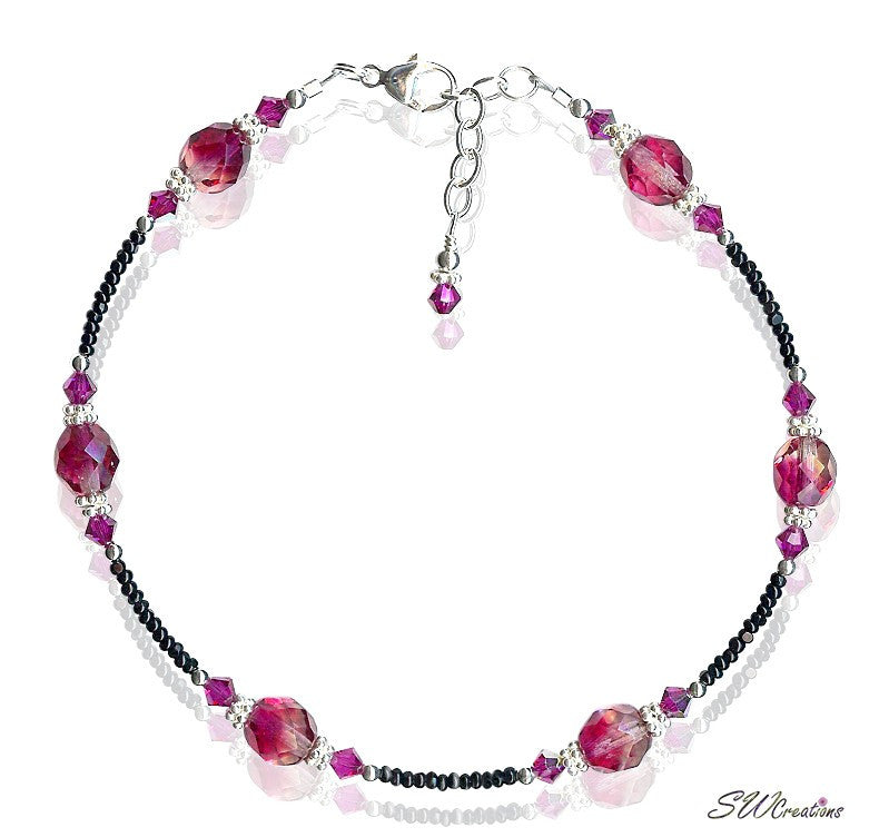 Knockout Rose Crystal Beaded Anklet - SWCreations