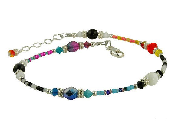 All Jazzed Up Capricious Funky Beaded Anklet - SWCreations  - 1