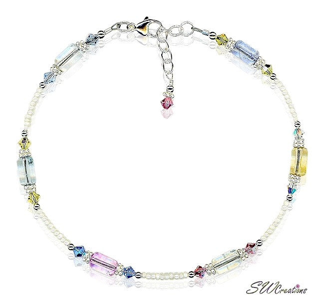 Pastel Quartz Crystal Beaded Anklet - SWCreations
