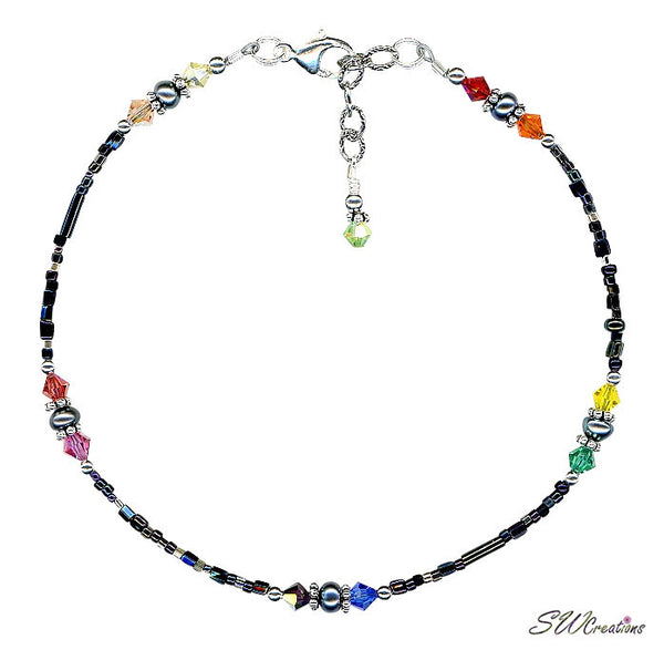 Black Rainbow Pearl Bali Beaded Anklet - SWCreations
