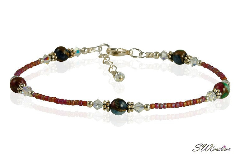 Ruby Red Quartz Pyrite Gemstone Anklet - SWCreations