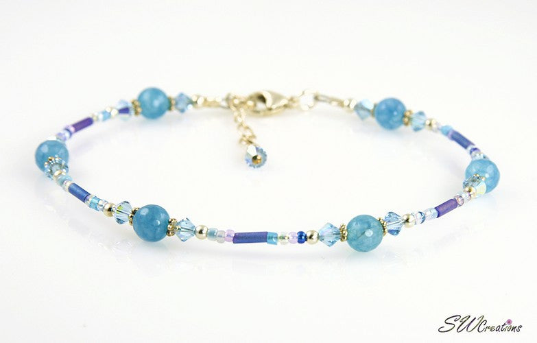 Aqua Blue Crystal Jade Beaded Anklet - SWCreations