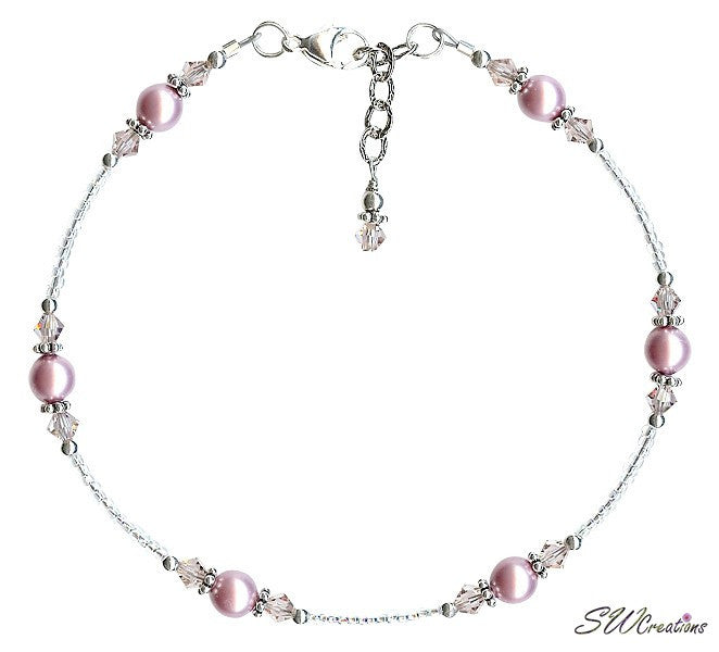 Vintage Rose Crystal Pearl Handmade Anklet - SWCreations