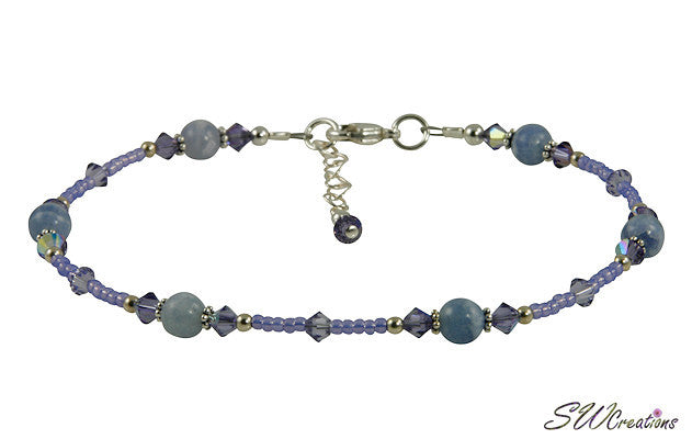 Tanzanite Blue Lace Agate Gemstone Anklet - SWCreations