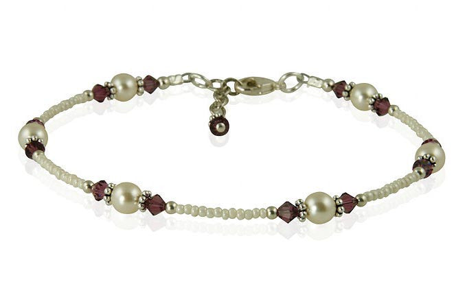Amethyst Cream Pearl Beaded Anklet - SWCreations  - 1