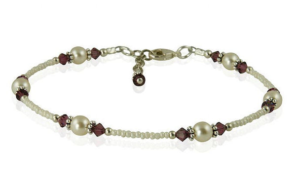 Amethyst Cream Pearl Beaded Anklet - SWCreations