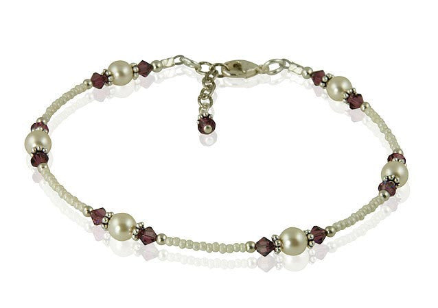 Amethyst Cream Pearl Beaded Anklet - SWCreations  - 2
