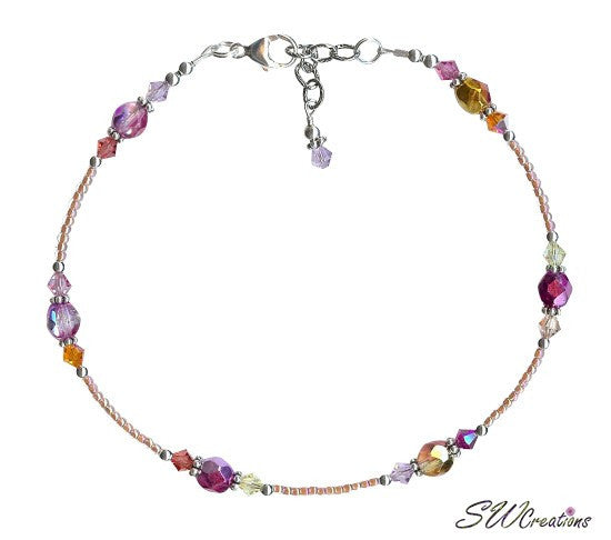 Sunset Bay Crystal Silver Beaded Anklet - SWCreations
