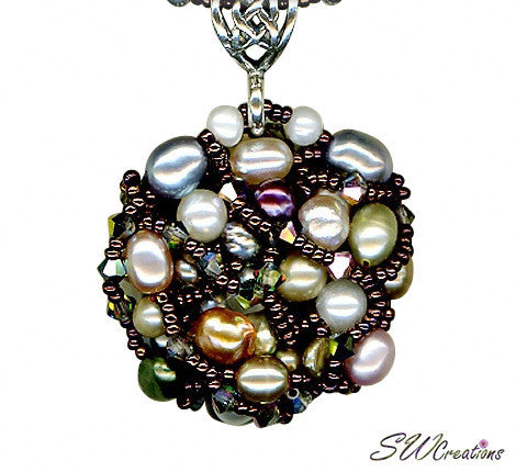 Rutilated Quartz Vitrail Crystal Bead Art Necklace - SWCreations  - 3