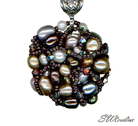 Rutilated Quartz Vitrail Crystal Bead Art Necklace - SWCreations