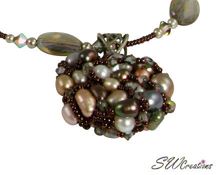 Rutilated Quartz Vitrail Crystal Bead Art Necklace - SWCreations  - 1