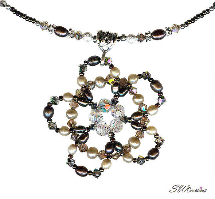 Coffee Hazelnut Floral Bead Crystal Pearl Bead Art Necklace - SWCreations