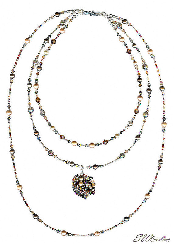 Earth Crystal Pearl Fusion Bead Art Necklace - SWCreations  - 4