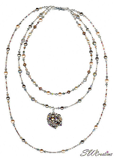 Earth Crystal Pearl Fusion Bead Art Necklace - SWCreations  - 2