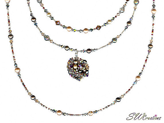 Earth Crystal Pearl Fusion Bead Art Necklace - SWCreations  - 3