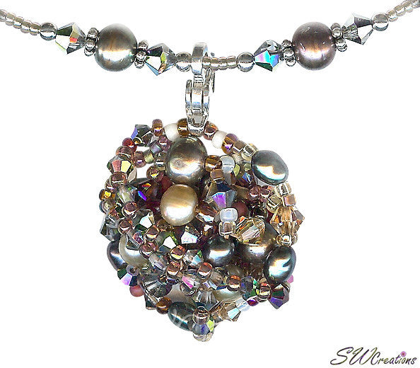 Earth Crystal Pearl Fusion Bead Art Necklace - SWCreations  - 1
