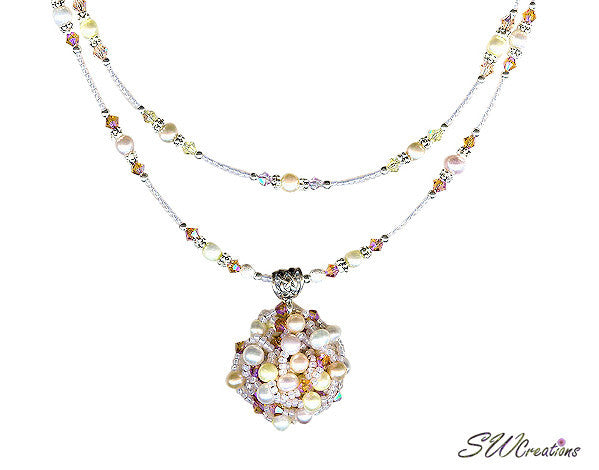 Delightful Peaches and Pearls Bead Art Necklace - SWCreations  - 3