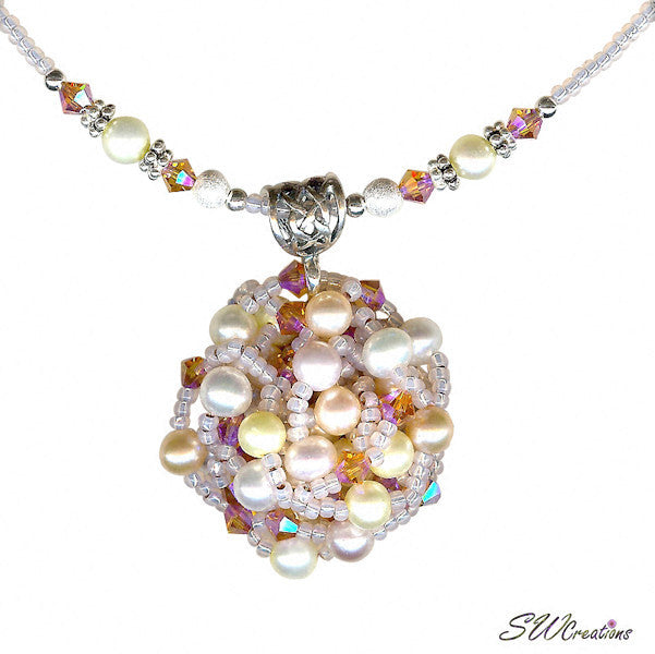 Delightful Peaches and Pearls Bead Art Necklace - SWCreations  - 1