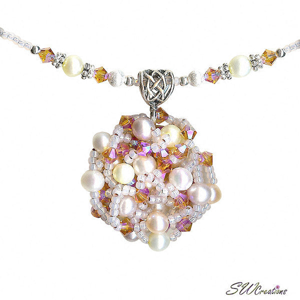 Delightful Peaches and Pearls Bead Art Necklace - SWCreations  - 4