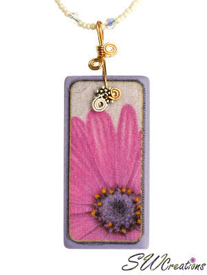 Pink Freeway Daisy Crystal Fleuri Art Domino Necklace - SWCreations