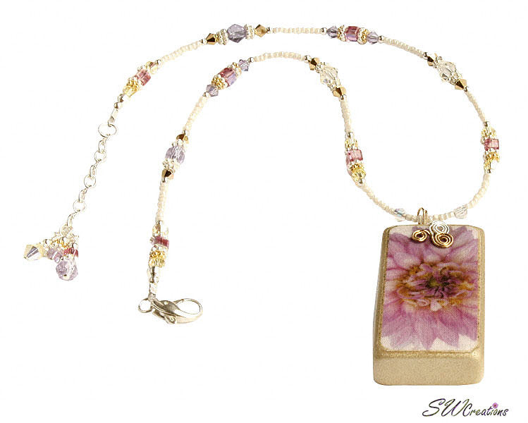 Purple Pink Yellow Dahlia Crystal Fleuri Art Domino Necklace - SWCreations