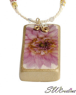 Purple Pink Yellow Dahlia Crystal Fleuri Art Domino Necklace - SWCreations  - 2