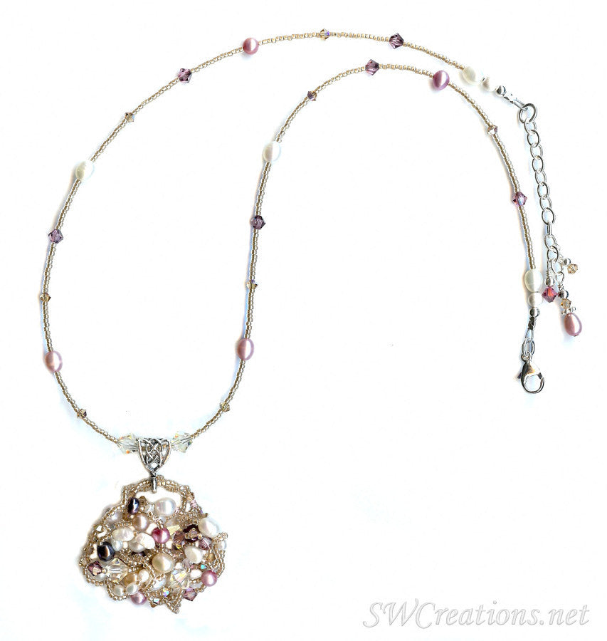 Satin Rose Topaz Pearl Crystal Bead Art Necklace - SWCreations