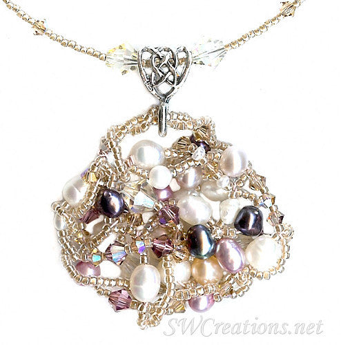 Satin Rose Topaz Pearl Crystal Bead Art Necklace - SWCreations  - 2