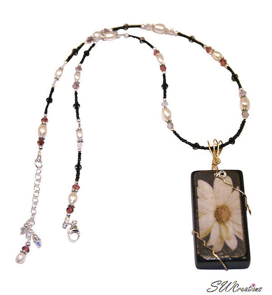 Black Satin Pearl Daisy Art Domino Necklace - SWCreations