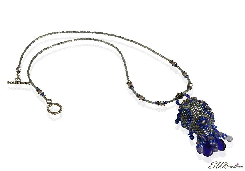 Kai Blue Beaded Fish Bead Art Necklace - SWCreations  - 1