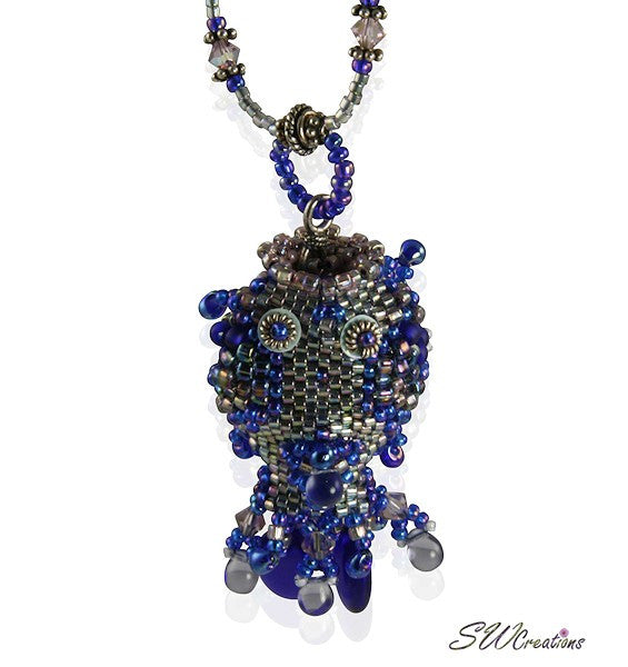 Kai Blue Beaded Fish Bead Art Necklace - SWCreations  - 2