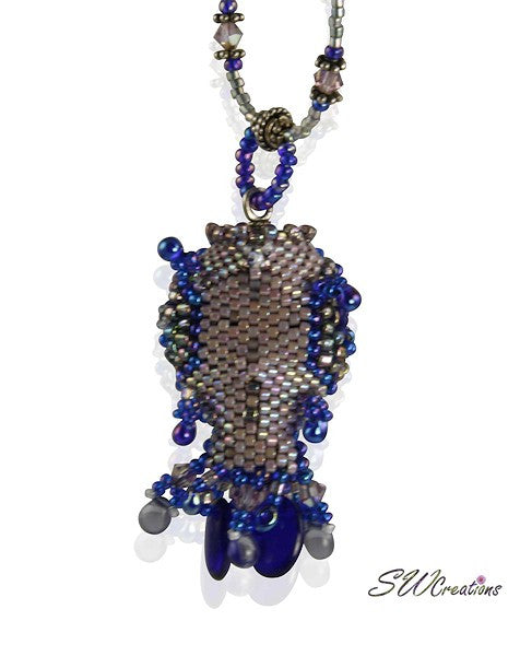 Kai Blue Beaded Fish Bead Art Necklace - SWCreations  - 3