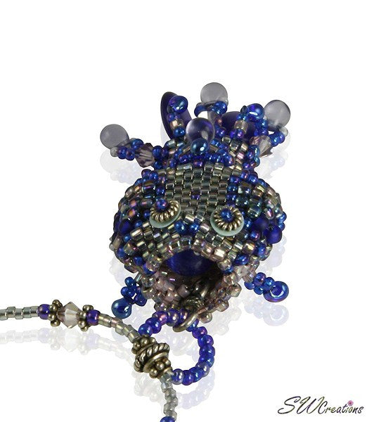 Kai Blue Beaded Fish Bead Art Necklace - SWCreations  - 4