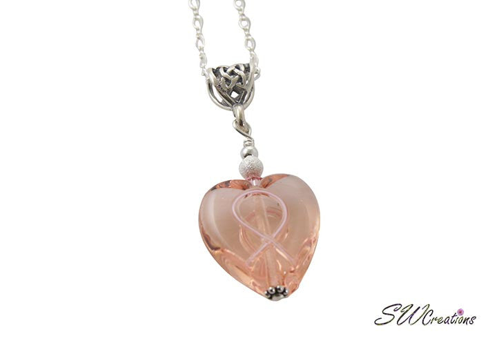 Breast Cancer Awareness Heart Pendant - SWCreations