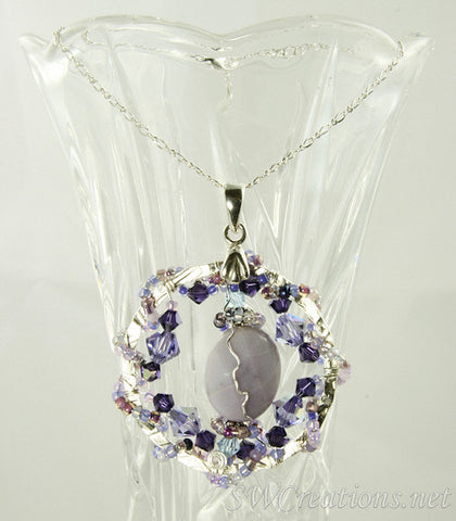 Violetta Lilac Agate Crystal Bead Art Pendant - SWCreations