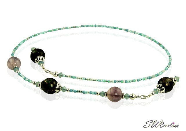 Fluorite Gemstone Opal Beaded Bookmark - SWCreations