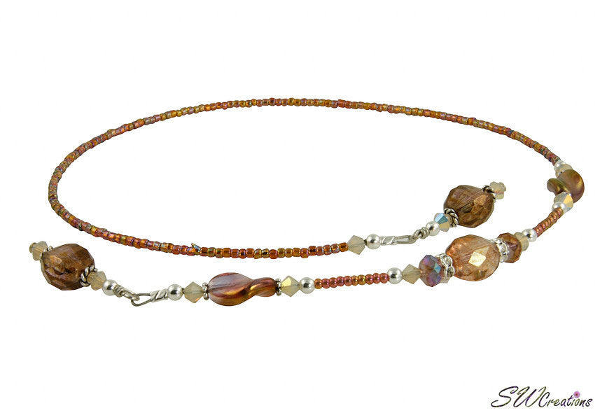 Topaz Golden Swirl Crystal Beaded Bookmark - SWCreations
