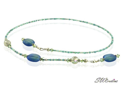 Blue Teal Green Crystal Beaded Bookmark - SWCreations