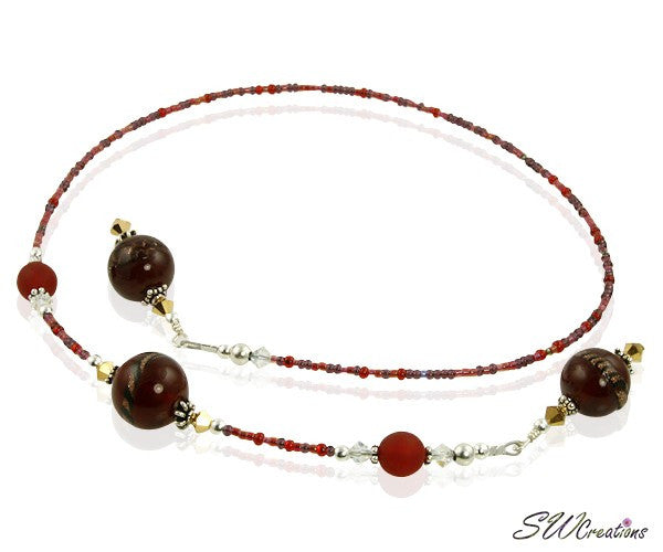 Golden Ruby Swirl Beaded Bookmark - SWCreations