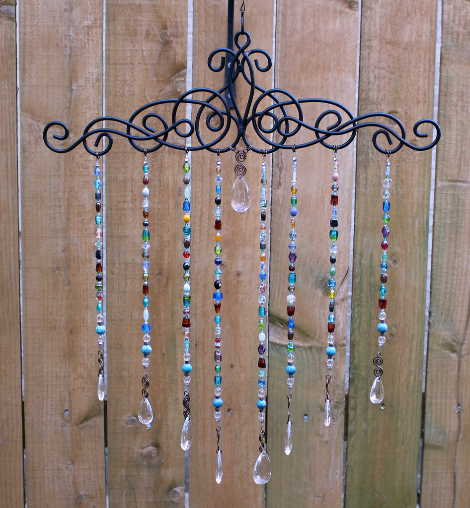 Multicolor Bead Chime Garden Art, Colorful Garden Bead Art