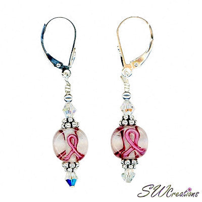 Crystal Lampwork Bali Breast Cancer Handmade Earrings - SWCreations