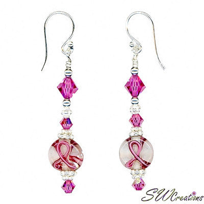 Rose Crystal Lampwork Bali Breast Cancer Earrings - SWCreations