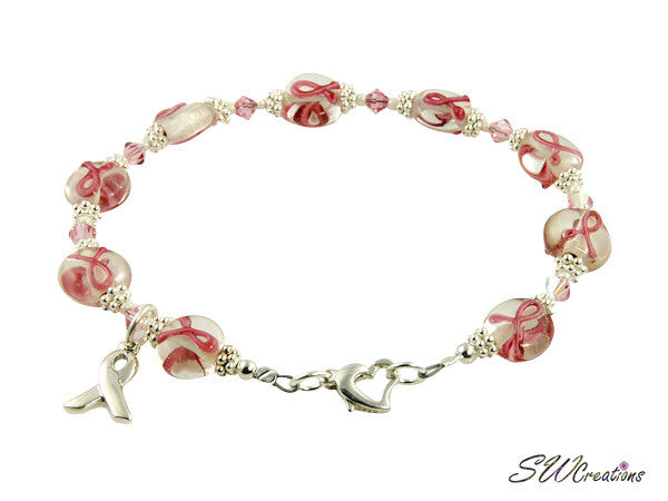 Light Rose Lampwork Bali Breast Cancer Beaded Bracelets - SWCreations