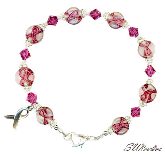 Rose Crystal Lampwork Bali Breast Cancer Beaded Bracelets - SWCreations