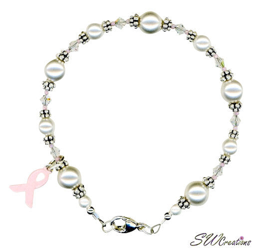 Delicate Rose Pearl Breast Cancer Beaded Bracelets - SWCreations