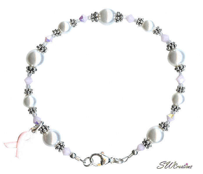 Rosaline Pearl Crystal Breast Cancer Bracelet - SWCreations